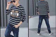 CH08018 Fashion stripe boy T-shirt letters spring kids