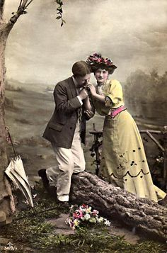 #love is a picnic on a rolling hillside...  {hand colored vintage image}  [valentine's day tribute brought to you by www.historicpictoric.com]