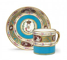 A Sèvres Porcelain Bleu Celeste Ground Cup and Saucer From The Catherine The Great Service | Blouin Boutique | Christie's