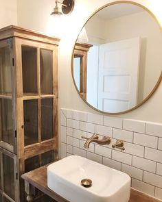 Round mirror for bathroom Vanity--- available at Target for $47