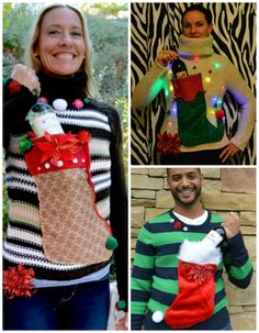 Ugly sweater wine holder...sew on a stocking!!!!