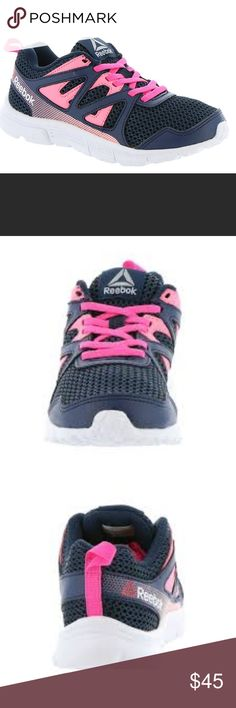 NIB Girls Reebok Tennis Shoes pink/blue. NIB Have your little lady stepping in style and her favorites in this classic pair of tennis shoes from New Balance. Pink and blue make this shoe plenty girly but with the sophistication of a grown up tennis shoe. Your little teenager in training will love them. Reebok Shoes Sneakers