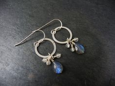 Labradorite and Rainbow Moonstone Modern by AdeniumJewelry on Etsy