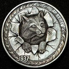 HOWARD THOMAS HOBO NICKEL - THE GREAT ESCAPE - 1937 BUFFALO NICKEL Pewter Art, Custom Coins, Foreign Coins, Hobo Nickel, Coin Art, Show Me The Money, Old Coins, Cat Drawing, Coin Collecting
