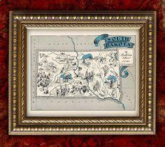SOUTH DAKOTA Map Print PERSONALIZED VIntage Map by EncorePrints, $12.00