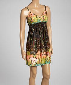Love this Black Smocked Floral Empire-Waist Dress by Neesha on #zulily! #zulilyfinds