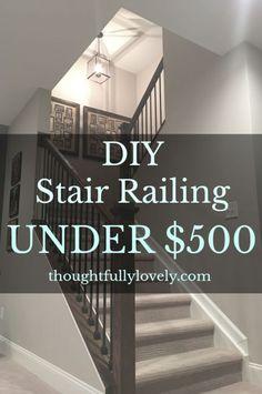 56 Ideas For Basement Stairs Diy Railings Living Rooms Diy Stairs, Banisters, Remodel, Half Walls, Stair Storage, Finishing Basement, Diy Staircase, Diy Stair Railing