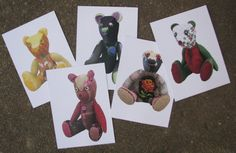 Bears photo 5 cards setartist Teddy bears photos. by LailasShop