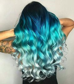 Are you looking for unique hair color ideas for winter and spring? See our collection full of unique hair color ideas for winter and spring and get inspired! hair, 82 Unique Hair Color Ideas For Winter and Spring Diy Ombre Hair, Blue Ombre Hair, Ombre Hair Color, Blonde Color, Blonde And Blue Hair, Hair Color Brown, Blue Tips Hair, Silver Blue Hair, Ombre Green
