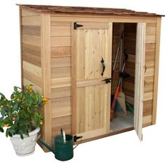 W x 3 ft. D Solid Wood Tool Shed Found it at Wayfair - Garden Chalet ft. D Wood Lean-To Tool ShedFound it at Wayfair - Garden Chalet ft. D Wood Lean-To Tool Shed Wood Storage Sheds, Outdoor Storage Sheds, Garden Tool Storage, Wood Shed, Storage Shed Plans, Outdoor Sheds, Storage Ideas, Bicycle Storage Shed, Deck Storage