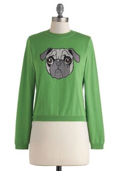 Pug Shot Sweater - Print with Animals, Short, Green, Grey, Bows, Knitted, Tie Neck, Casual, Long Sleeve