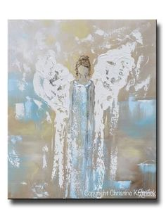 Giclee print angel painting abstract guardian angel wings turquoise blue white home decor canvas wall art Texture Painting, Painting Prints, Art Prints, Painting Abstract, Knife Painting, Diy Disney, Tattoo Word, Original Art, Original Paintings
