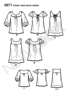 Womens Pullover Top or Tunic Sewing Pattern 6871 New Look