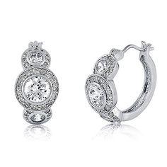 Sterling Silver Cubic Zirconia CZ Hoop Earrings from Berricle - Price: $67.99