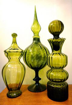 Group of Green Empoli Glass Vessels