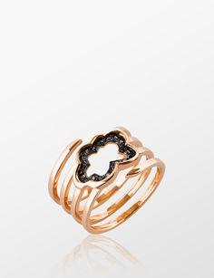 PADME DESIGNS ROSE GOLD BLACK DIAMOND CLOUD SPIRAL RING YZ0032