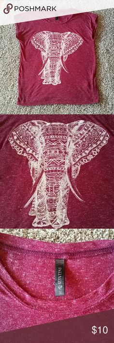 "Full Tilt marled burgundy elephant tee Tilly's Full Tilt for girls marled burgundy elephant screen print tee. Short sleeves, almost sleeveless, top in very good condition. Measures 19"" from shoulder to hem size medium or a 10/12. Full Tilt Shirts & Tops Tees - Short Sleeve"