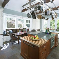 Inspiration - Interior view of kitchen with custom pot rack - eclectic - kitchen - philadelphia - Krieger + Associates Architects Inc