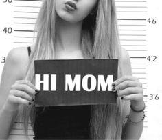 bad, bad girl, black and white, blonde girl, cool, crazy, girl, girls, grey, grunge, hi, hi mom, mad, madness, mom, prison, rebel, teenagers, teens, trend, tumblr
