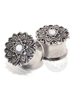 Feather Lotus with Opal Center Double Flared Steel Plugs | Plug Your Holes - Your Lifestyle, Since 2006.