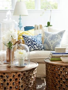 :: 3 Uses of Pillows in a Coastal Home :: coastal homes, interior design, coffee tables, pillow, house design, design room, design homes, home interiors, wooden tables