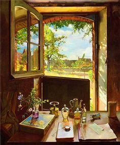 "Konstantin Somov, ""La finestra aperta"" (1938)"