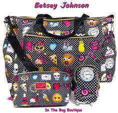 Betsey Johnson Emoji Nylon Weekender Duffel or Gym Tote & Cosmetic Bag 3pc Set  #BetseyJohnson #SatchelCrossbodyToteBagShoulderBag