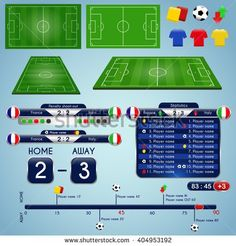 Broadcast Graphics for Sport Program. Soccer match statistics template. Football elements and play field