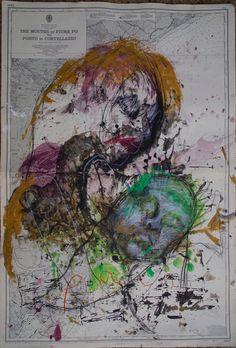 dibujo y pintura sobre carta marina de Marie-Noëlle Ginard y Manuel Santiago para Es solo pintura 2016, Can Monroig #shoponline #pintura #art #painting