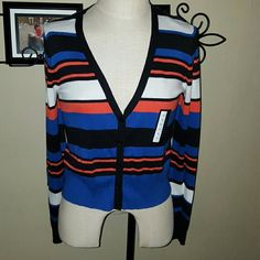 Worthington Monaco Stripe Cardigan Sweater Worthington brand. Size Medium. Monaco Stripe pattern. Blue, Black, White And Coral Stripes.  Long sleeve. Button up front.  Brand new with tags. Worthington Sweaters Cardigans