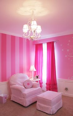 Pinkalicious Baby Girl's Nursery Room Design..stripes and curtains