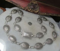 ANTIQUE STERLING SILVER HEAVY NATIVE AMERICAN CONCHO UNISEX BELT or NECKLACE
