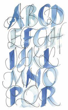 Hand Lettering Alphabet, Calligraphy Alphabet, Calligraphy Fonts, Typography Letters, Cursive Letters, Doodle Lettering, Bullet Journal Font, Journal Fonts, Journaling