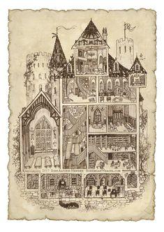 Hogwarts school Harry Potter Sepia diagram illustration