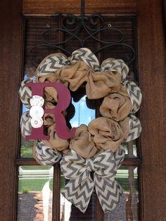 Chevron Burlap Initial Wreath by AmericanHoney2012 on Etsy, $75.00