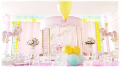 It's ushering in this gorgeous Pastel Carousel Birthday Party at Kara's Party Ideas Carousel Themed Birthday, Carousel Party, Circus Birthday, Unicorn Birthday Parties, Unicorn Party, Birthday Party Themes, Birthday Ideas, Colorful Baby Showers, Garden Birthday