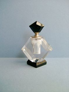 Vintage Art Deco Opaque Black and Glass Perfume by Biminicrickets, $55.00