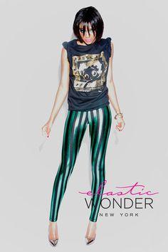 Metallic Stripes Spandex Leggings - ElasticWonder.com