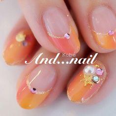元気あふれるオレンジネイル♪結婚式の花嫁のネイル参考例♡真似したいウェディング・ブライダル♡
