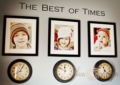 Clocks stopped at the time each child was born. Great idea for a classy, sophisticated toy room.