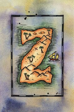 READY-TO-SHIP Letter Z Treasure Map / 5 x 7 by paintandink on Etsy