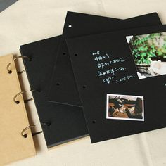 This all-blank kraft folder album is great for weddings, engagements, graduations, guestbook, baby photos, memories, note-taking, sketches, recipes, or other arty obsessions. The options are endless.This kraft scrapbook is a great size for creating a memory book, or even a celebratory gift for an anniversary or wedding. You can choose these three colors Kraft/ Black/ Black and Kraft  -One photo frame is included. - With two plastic cover - Horizontal opening - Measures 11.5 x 8 - 28 sheets…