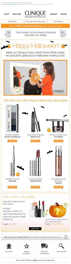 Halloween email marketing from Clinique
