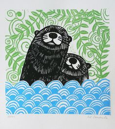Otters, Original Linocut Print, Signed Open Edition, Free Postage in UK, Block Print, Printmaking, by KatLendacka on Etsy https://www.etsy.com/listing/463503094/otters-original-linocut-print-signed