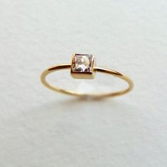 Princess Diamond Ring - Simple Engagement Ring - Square Diamond Ring - 18k Solid…