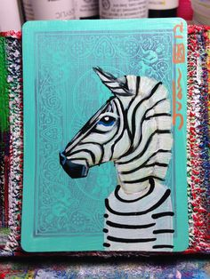 Zebra portrait N6 on a playing cards. Original acrylic painting. 2012
