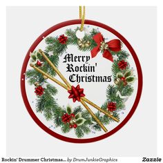 "This pretty drummer Christmas ornament features a holiday wreath and a pair of drum sticks, with caption ""Merry Rockin' Christmas"". Perfect holiday gift idea for musicians, music lovers and drum enthusiasts! Check out www.drumjunkiegraphics.com for more great drummer merch and musician gifts - all designed by a drummer! #drummerchristmas #musicianchristmas #drumsticks #rockandrollchristmas #drumjunkie"