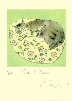 Cat and Mouse      From and Etching by Julian Williams and used as an image for a greeting card by Two Bad Mice    www.twobadmice.com