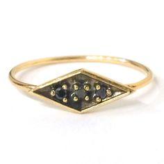Diamond Shaped Black Diamond Ring