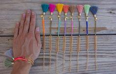 OOAK beautiful fishbone chain bracelet in pastel door BonkIbiza